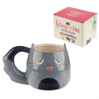 Feline Fine Novelty Shaped Cat Mug in gift box